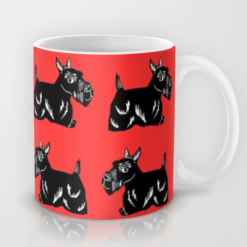 Scottie Dogs Black and Red Pattern Mug by Artist Abigail