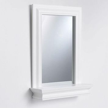 Framed Bathroom Mirror Rectangular Shape with Bottom Shelf in White Wood Finish