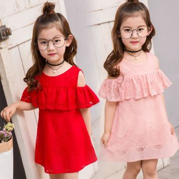 summer 2-8 years old child clothes girl lace dress baby off the f7c6f1a2cac7