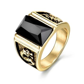 Fabulous Vintage Antique Gold/Silver Color Crystal Stainless Steel Square Stone Finger Ring For Mens by Ritzy