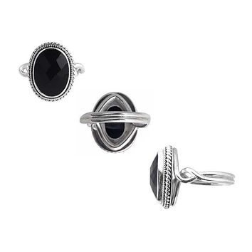 "SR-7964-ONX-6"" Sterling Silver Ring With Black Onyx"