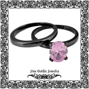 Gothic Wedding Rings | Black Wedding Ring | Classic 1.5Ct Oval Pink Cz Black Gold Filled Ring Set | Size 6 7 8 9 10 #155-p