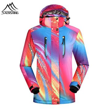 Saenshing Women ski jacket Waterproof 10000 Winter warm snowboarding jackets breathable outdoor skiing snow jacket ski clothes