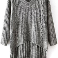 Grey Tassels Fringed Sweater