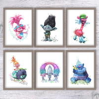 Trolls art print Set of 6 Trolls watercolor poster Trolls wall decor Kids room wall art  Nursery room decoration Wall hanging Gift idea V396