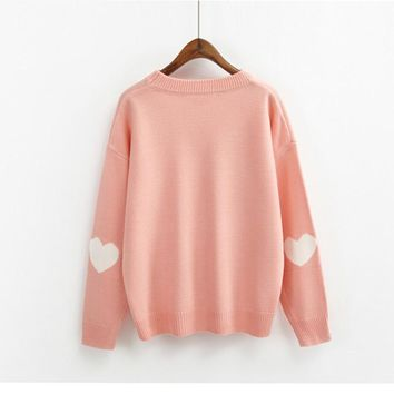 autumn and winter cute Soft sister heart shaped Solid color Round Neck all-match Long sleeved loose pullover sweater for women