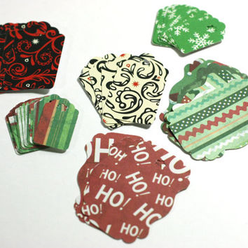 44 Christmas Gift Tags: Assorted Sizes and Colors of Handmade Gift Tags in Snowflakes, Stripes, and Scrolls Retail hang tags