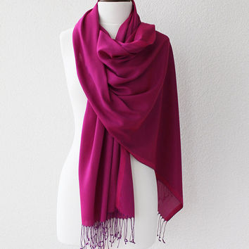 Pashmina Scarf Large Scarf Oversize Scarf Women Fashion Accessories Gift Ideas For Her Dark Fuchsia