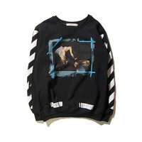 Tide brand off white after twill long-sleeved sweater men and women round neck shorts sweater Black Tagre™