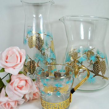 Vtg Glass Carafe Cocktail Mixer Libbey Pine Cone Turquoise and Gold 1960 Mad Men mid century Barware