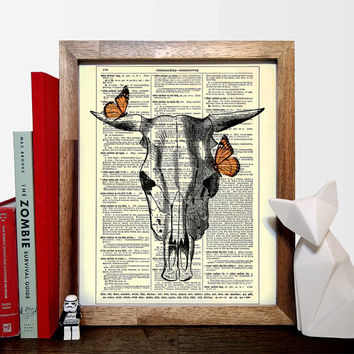 Ox Skull With Butterfly Friends Vintage, Eco Friendly Home, Kitchen, Bathroom, Nursery Decor, Dictionary Book Print Buy 2 Get 1 FREE