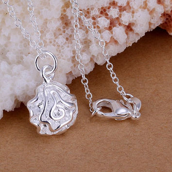 silver plated pendant Small Rose bead necklace floating charms MP