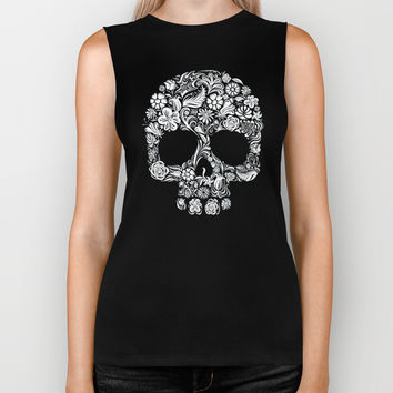 Sugar Skull flower pattern iPhone 4 4s 5 5s 5c, ipod, ipad, pillow case and tshirt Biker Tank by Three Second | Society6