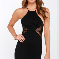 Amore Than Welcome Black Backless Lace Dress