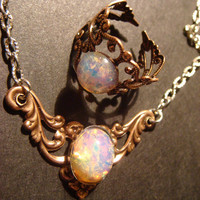 Victorian Style Fire Opal  Necklace in Antique Copper with Matching Ring- Art Nouveau (414)