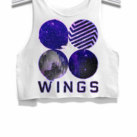 Bts Wings Cover Galaxy Womens Crop Tank Top