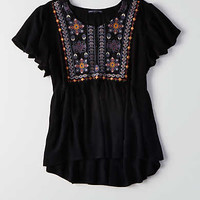 AEO Embroidered Swing Shirt, Black