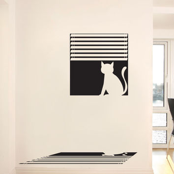Vinyl Wall Decal Sticker Cat in Window #OS_DC680