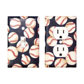 Baseball Nursery Decor / Light Switch Plate & Outlet Cover / Baby Boy Sports Kids Room / Navy Blue and Red / Slightly Smitten Kitten Designs
