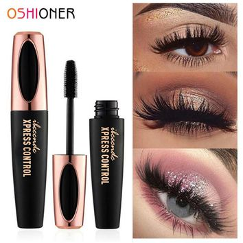 OSHIONER 4D Silk Fiber Eyelashes Lengthening Mascara Waterproof Long Lasting Lash Black Eyelashes Extension Make up 3D Mascara