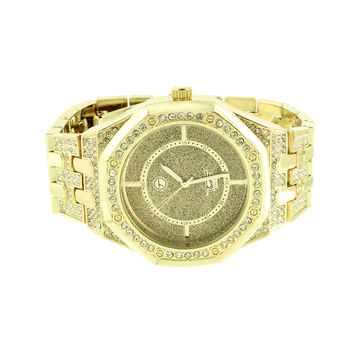 Gold Finish Watch Mens Fully Iced Out AP-04 Illusion Dial Rapper Wear CZ Jojino
