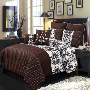 Bliss Chocolate Luxury 8-Piece comforter Set