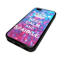 Apple Iphone 5 or 5s Case Cover Keep Calm And Sparkle Cute Glittery Design Black Rubber Silicone Teen Gift Vintage Hipster Fashion Design Art Print Cell Phone Accessories