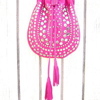 Neon Fuchsia lamb skin studded cross body purse
