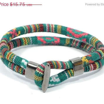 SALE ethnic bracelet for men * aztec bracelet * green bracelet * gift for men * mens fabric bracelet * boys surfer bracelet * birthday gift