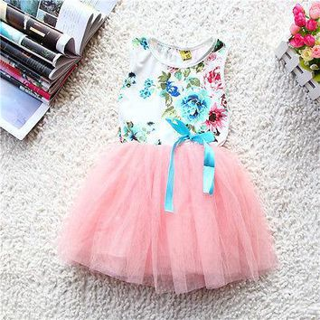 Baby Girls Kids Princess Floral Stripe Tulle Silk Ribbon Tutu Dress Bubble