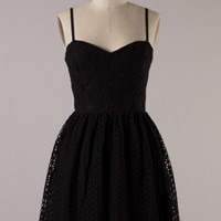 Crochet Corset Fit and Flare Cocktail Dress - Black