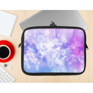 The Blue and Purple Translucent Glimmer Lights Ink-Fuzed NeoPrene MacBook Laptop Sleeve