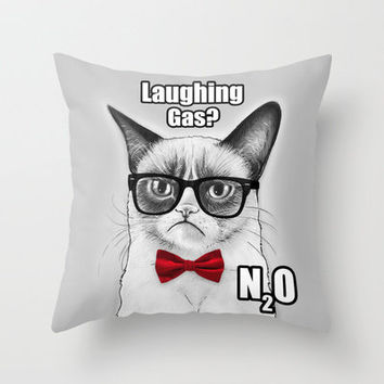 Grumpy Chemistry Cat, Tardar Sauce, Tard Throw Pillow by Olechka
