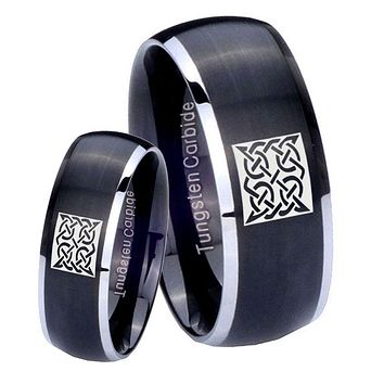 His Her Matte Dome Square Celtic Two Tone Tungsten Carbide Wedding Rings Set