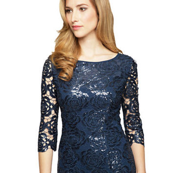 Alex Evenings Sequined Floral Lace Blouse