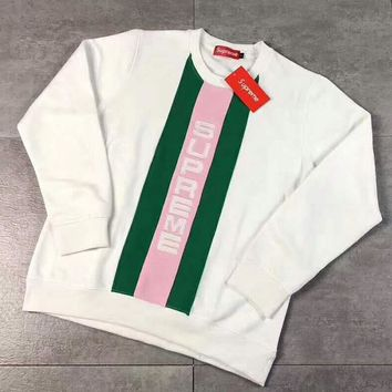 Supreme Embroider Letter Long Sleeve Splicing Round Neck Pullover Sweater White G -CN-CFPFGYS