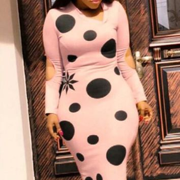 Black and Pink Polka Bodycon Dress