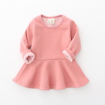 New 2017 Baby Girls Dress Candy Color Long Sleeve Toddler Girls Clothing Winter Fleece Warm Children Princess Dress DQ699