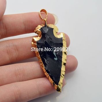 Hot 8Pcs Black Obsidian Pendant Bead Arrowhead Gold Color Fashion Charm Gem Stone Pendant Necklace