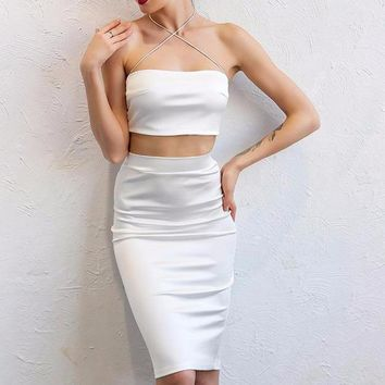 White Two-Piece Criss-Cross Front Cocktail Dress