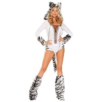 Sexy White Tiger Hooded Lace-Up Romper with Tail