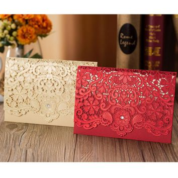1pcs Sample Gold Red Laser Cut Luxury Flora Wedding Invitations Card Elegant Diamond Lace Favor Wedding Event & Party Supplies