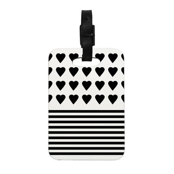 "Project M ""Heart Stripes Black and White"" Monochrome Lines Decorative Luggage Tag"