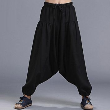 Fashion Natural Linen Harem Pants Men'S Casual Trousers Elastic Waist Chino Pantalones Kung Fu Black Dance Pants Bloomers 2016