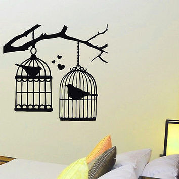 WALL DECAL VINYL STICKER ANIMAL BIRD CAGE BIRDCAGE DECOR SB566