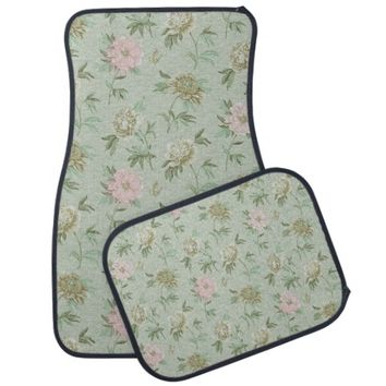 Girly Chic Green and Pink Floral Car Mat