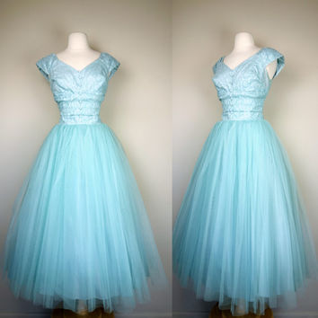 1950s tulle prom dress, teal blue lace formal fit and flare event gown, princess fairy dress