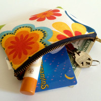 Coin Purse Coin Bag Small Cosmetic Clutch in Orange Flower