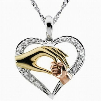 mother baby heart pendant mom daughter son child family love Cubic Zirconia necklace moms jewelry birthday gift SM6
