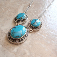 Turquoise Marcasite Necklace Sterling Silver Bib Style Natural Stabilized Turquoise Vintage V0457